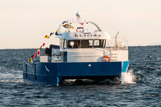 Anfang Februar wurde auf der Insel Frøya der erste Elektrokutter getauft. Das Antriebssystem lieferte Siemens Norge in Trondheim.©Siemens