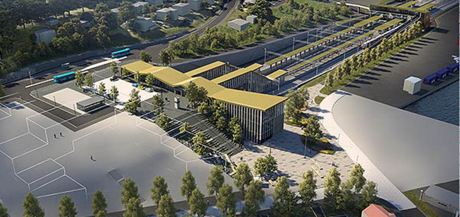 Visualisierung des neuen Bahnhofs in Moss,©Bane NOR