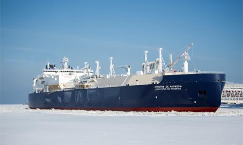 """Der Erdgastanker """"Christophe de Margerie"""" wurde am 27. März 2017 nach Abschluss der Testphase in der Karasee und der Laptewsee in Betrieb genommen. ©Sovcomflot"""