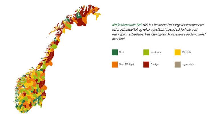 NHO's-Kommunen-Wettbewerb: Der Kommunen-Wettbewerb bewertet die Kommunen nach der Attraktivität und dem lokalen Wachstumspotenzial nach den Kriterien Wirtschaft, Arbeitsmarkt, Demografie, Kompetenzen und kommunale Wirtschaft.©NHO