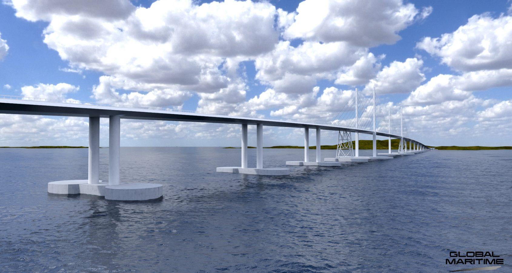 Anstelle einer Fähre könnte es künftig eine schwimmende Brücke über den Bjørnafjord geben. Verschiedene Varianten der Überquerung wurden zur Technologiekonferenz in Trondheim vorgestellt.©Global Maritim
