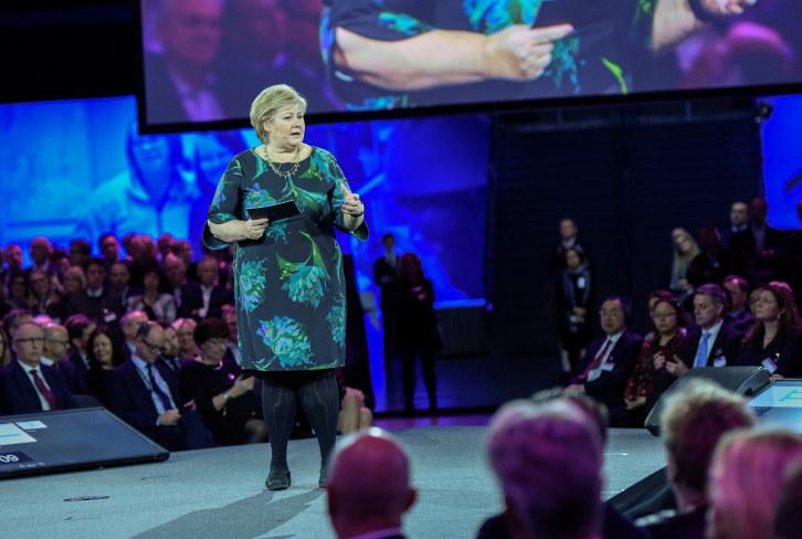 Erna Solberg sprach unter anderem über die Auswirkungen der demografischen Entwicklung.©Schmidt
