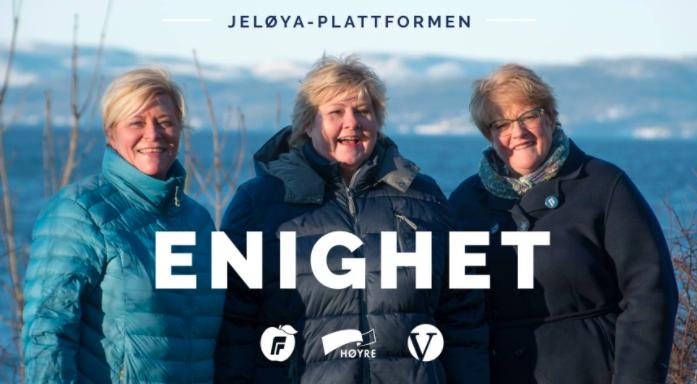 """Präsentation der neuen Regierung auf der Høyre-Internetseite: """"Unser gemeinsames Ziel ist, dass Norwegen ein Land mit Chancen für alle ist""""©Høyre"""