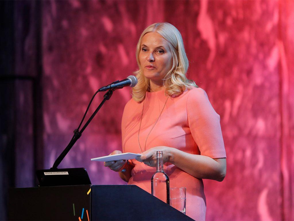 Kronprinzessin Mette-Marit bei der NORLA-Eröffnungsveranstaltung 2017 zur Vorbereitung der Aktivitäten Norwegens als Gastland zur Frankfurter Buchmesse 2019©Lise Åserud / NTB scanpix