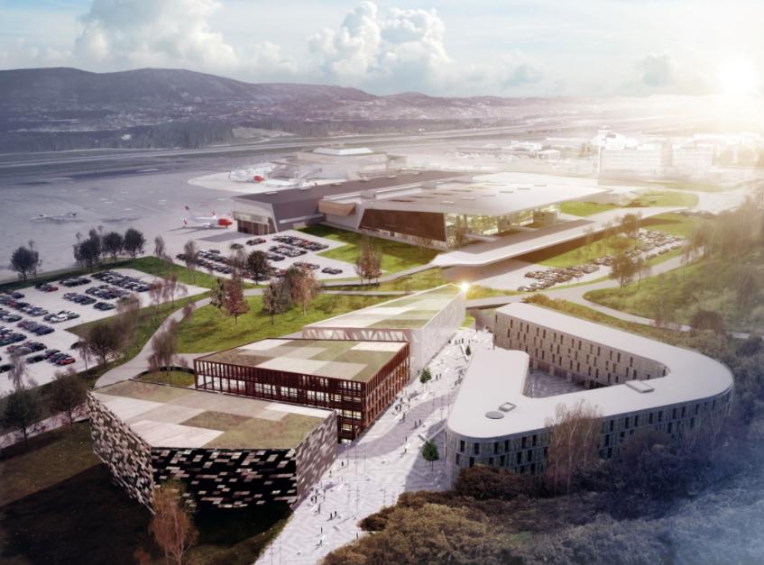 Illustration des Bergen Business Park. 2019 sollen die ersten Gebäude bezugsfertig sein.©