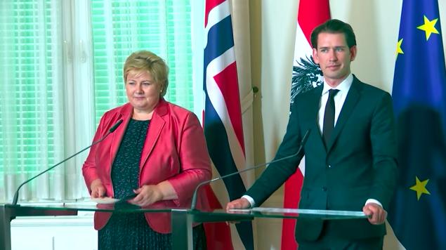 Erna Solberg und Sebastian Kurz zur Pressekonferenz in Wien.©Bundeskanleramt Wien